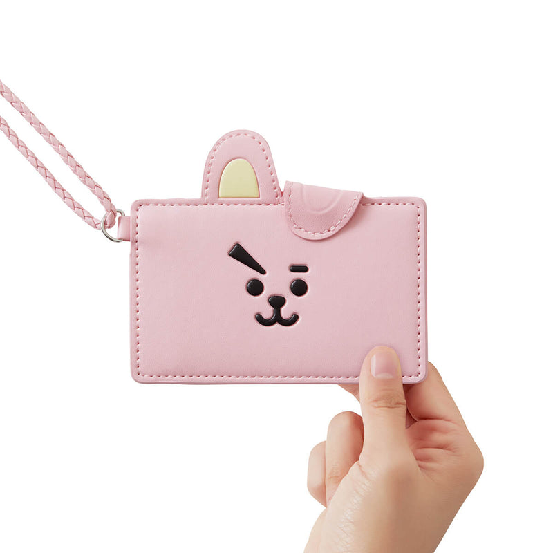 BT21 COOKY 2-Pocket Neck Strap Wallet Pink