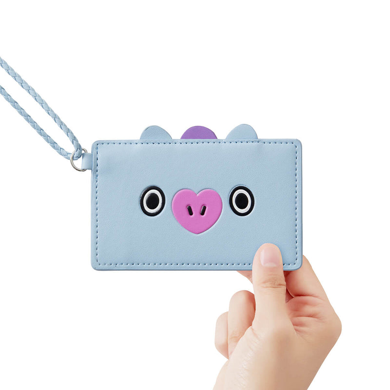 BT21 MANG 2-Pocket Neck Strap Wallet Light Blue