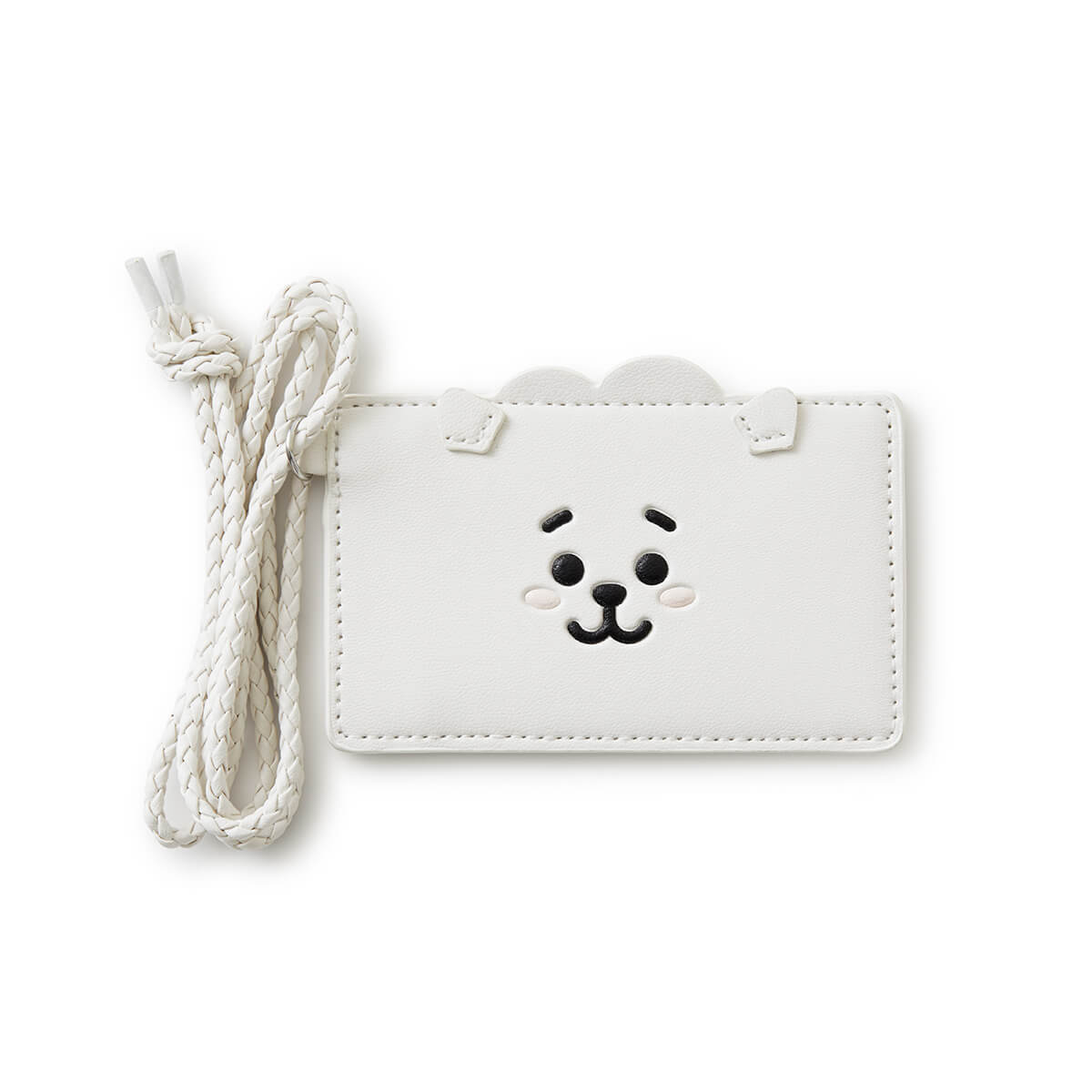 BT21 RJ 2-Pocket Neck Strap Wallet White