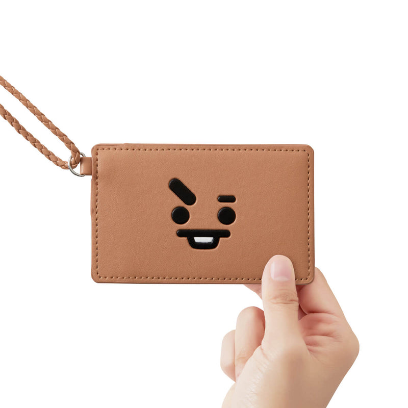 BT21 SHOOKY 2-Pocket Neck Strap Wallet Light Brown