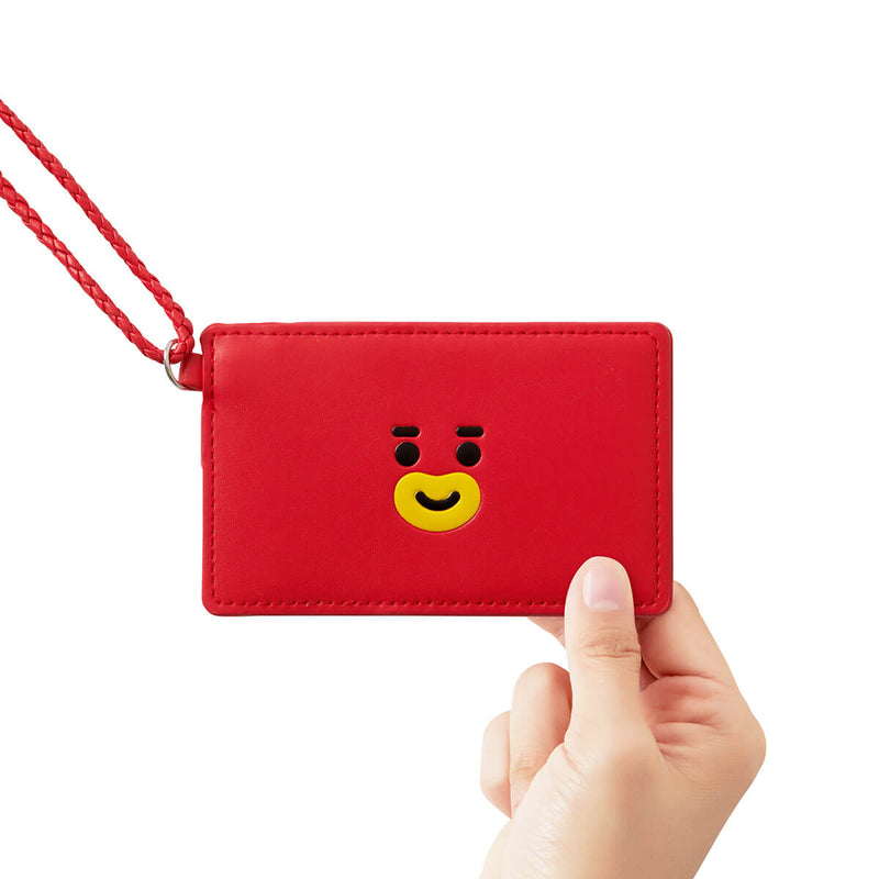 BT21 TATA 2-Pocket Neck Strap Wallet Red