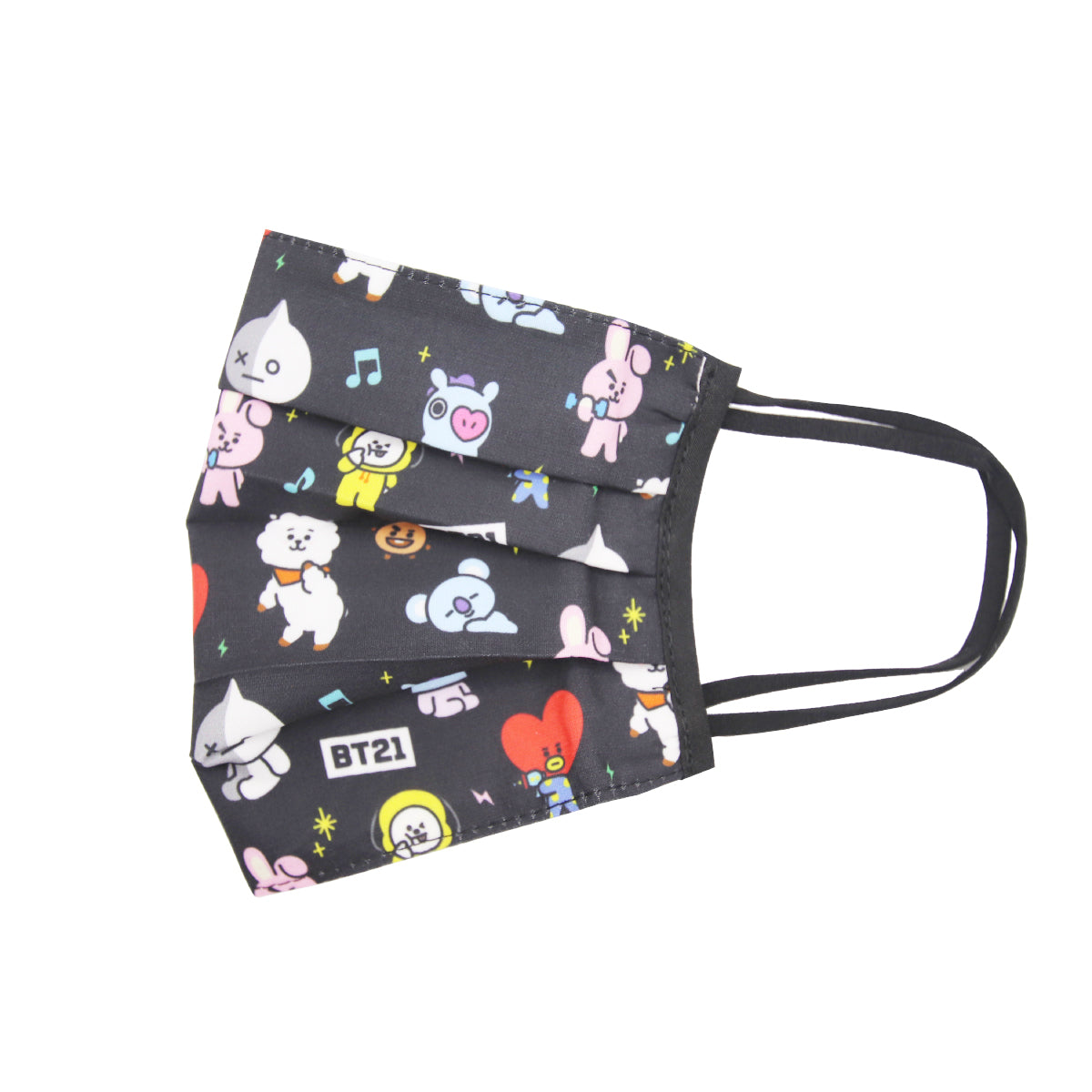 BT21 Pleated Fashion Face Mask Black