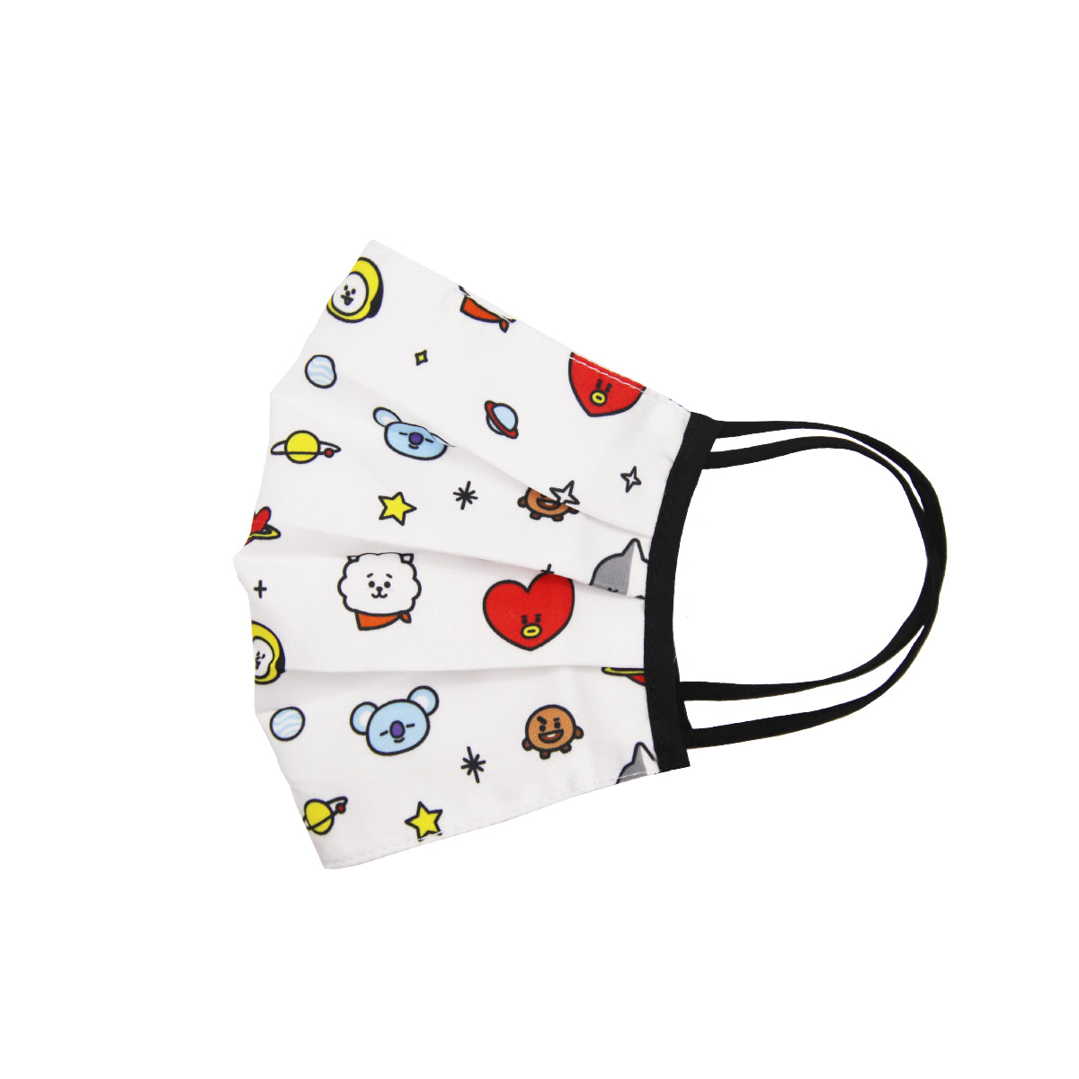 BT21 Pleated Fashion Face Mask White