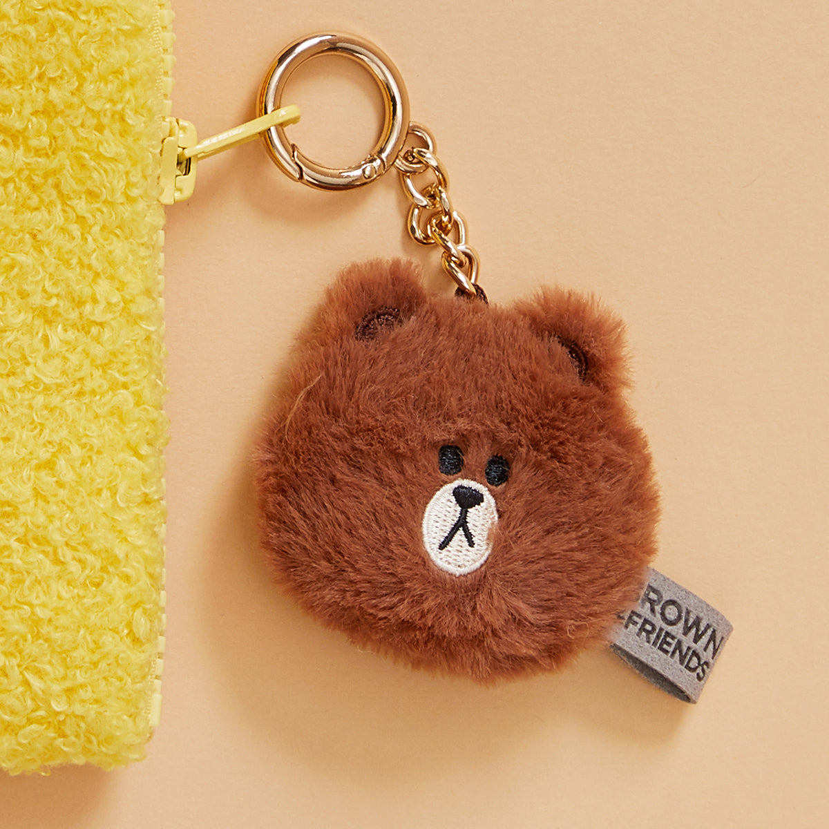 BROWN Flat Fur Face Bag Charm 5cm