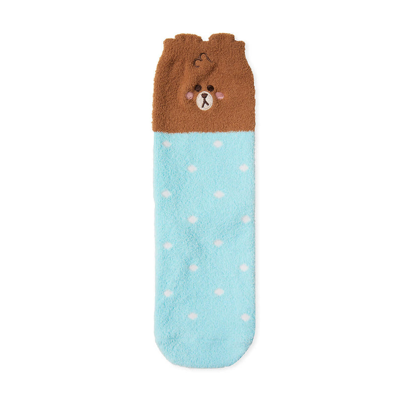 LINE FRIENDS BROWN Mini Friends Fuzzy Sleep Socks