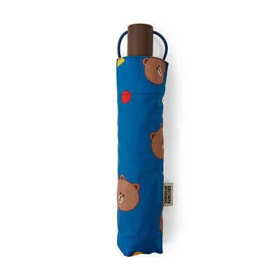 LINE FRIENDS BROWN UV-Block 3-Way Automatic Compact Umbrella, Navy