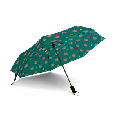LINE FRIENDS BROWN UV-Block 3-Way Automatic Compact Umbrella, Green
