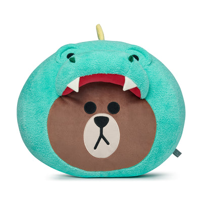 DINO BROWN Jungle Head Cushion 13.4""
