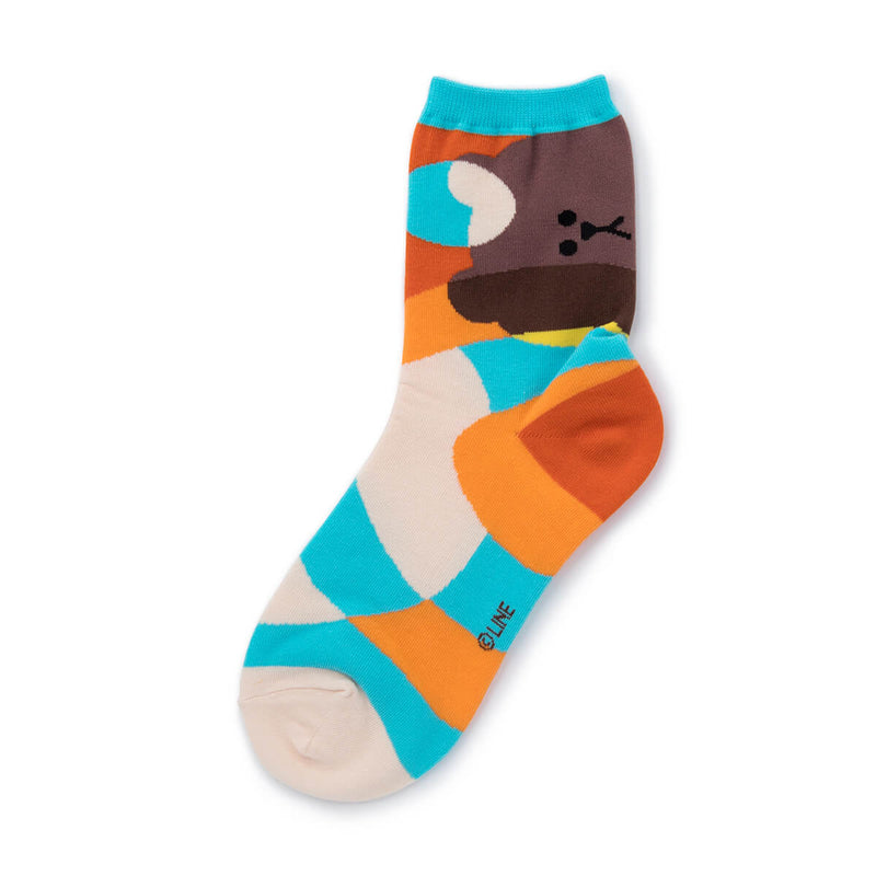 LINE FRIENDS BROWN Color Time Quarter Socks Mint