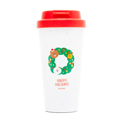 LINE FRIENDS Winter Holiday Wreath Stainless Steel Cup
