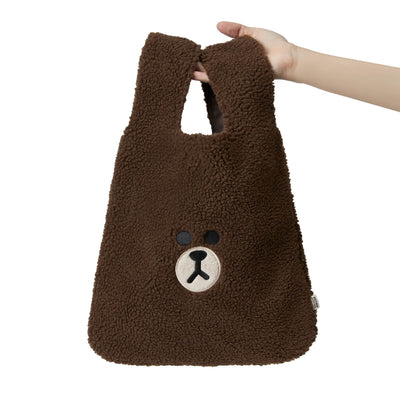 LINE FRIENDS BROWN Fluffy Boucle Tote Bag