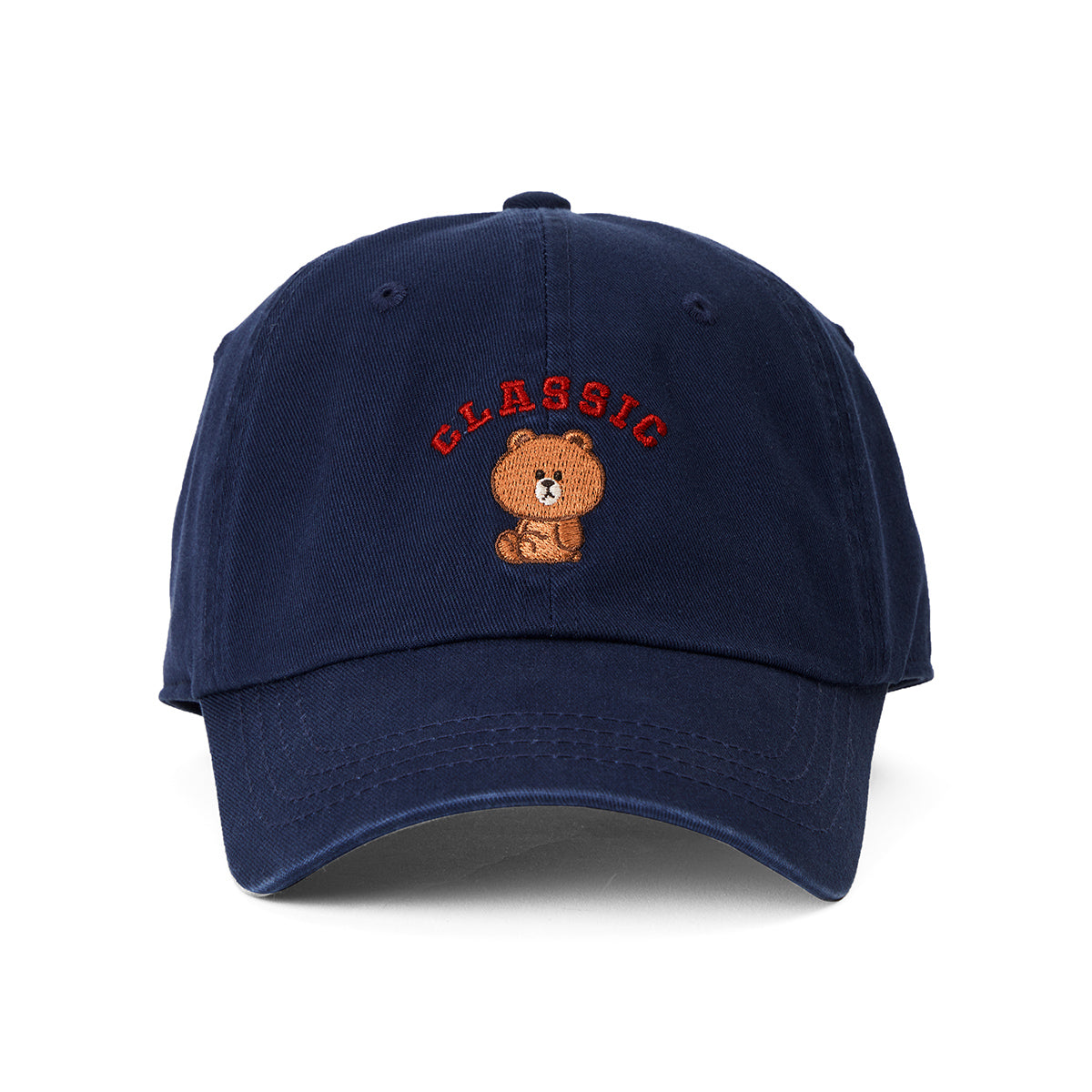 LINE FRIENDS BROWN University Washed Ball Cap Navy