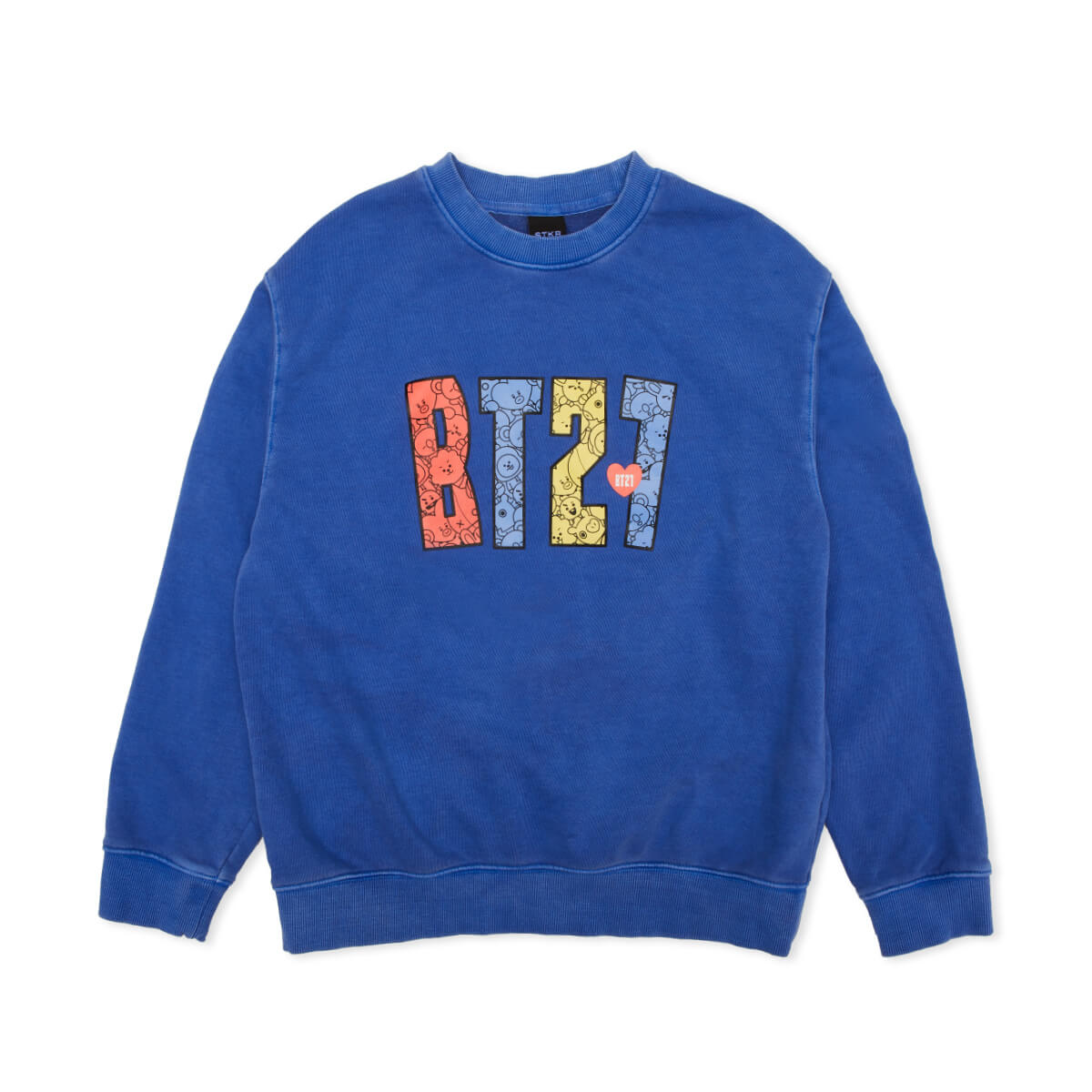 BT21 Logo Heart Garment Dyed Sweatshirt Blue