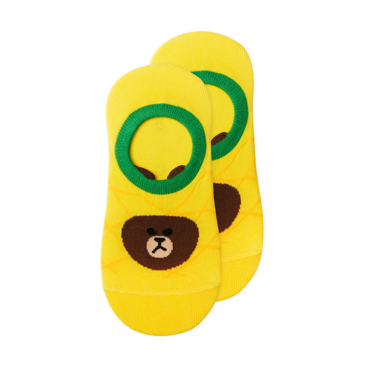 LINE FRIENDS BROWN Fruity Pineapple Adult No Show Socks