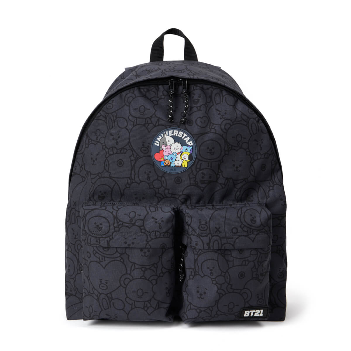 BT21 20 Heart Waggle Waggle Two Pocket Backpack Dark Grey