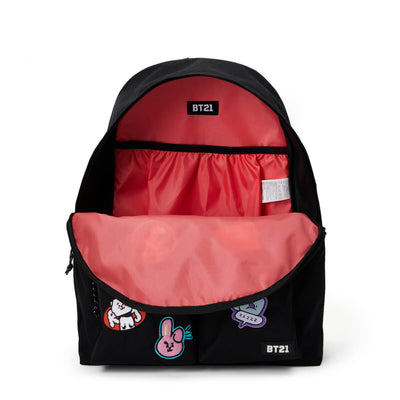 BT21 20 HEART WAPPEN TWO POCKET BACKPACK Black