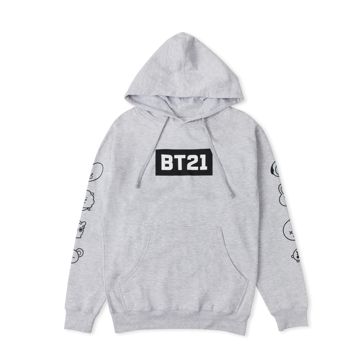 BT21 FACE SLEEVE HOODIE GY