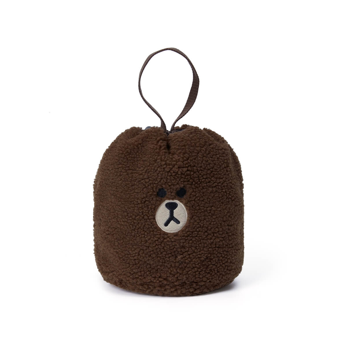 LINE FRIENDS BROWN Fluffy Boucle Bucket Bag