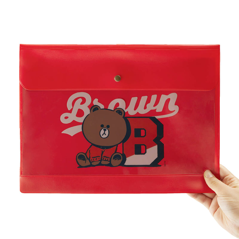 BT21 BROWN 20 UNIVERSITY A4 FILE POUCH