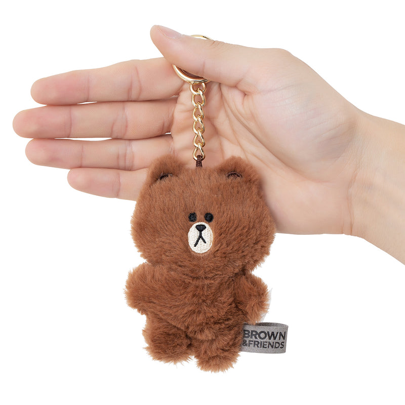 BROWN Flat Fur Plush Bag Charm 10cm