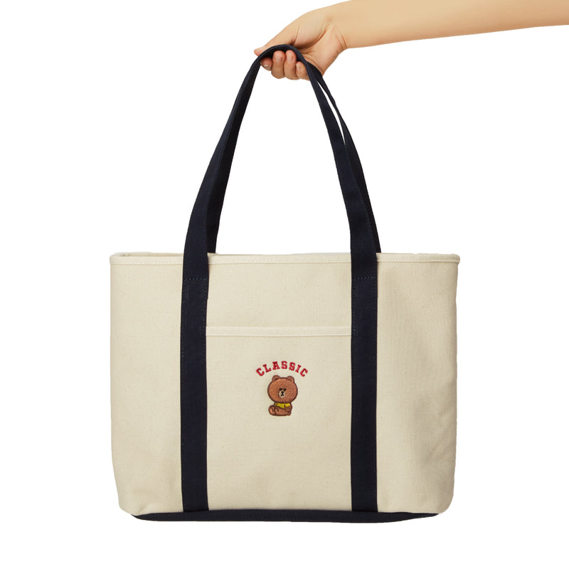 LINE FRIENDS BROWN University Shoulder Bag Tote Ivory