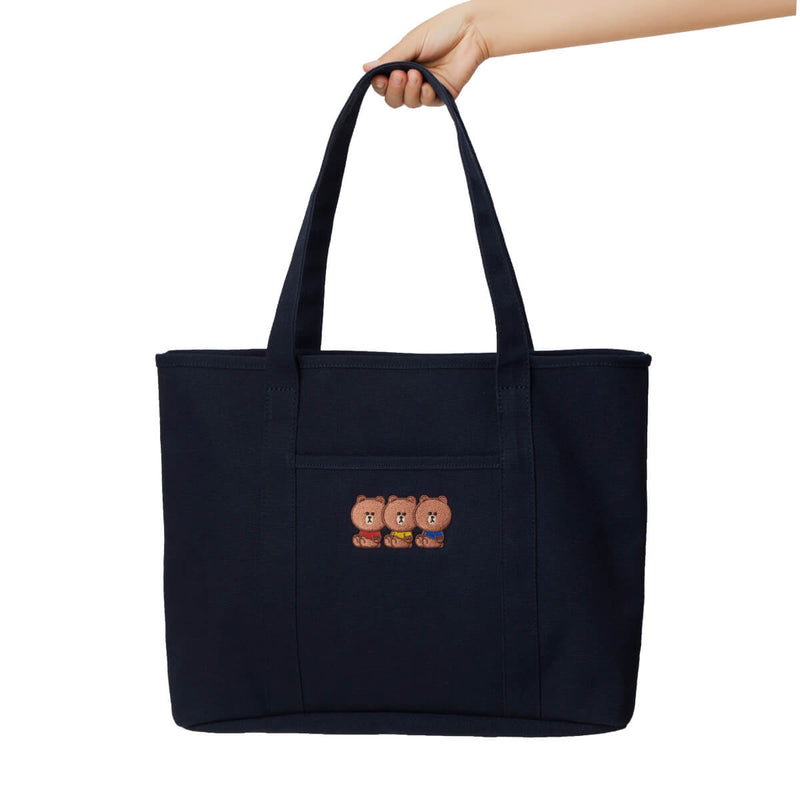 LINE FRIENDS BROWN University Shoulder Bag Tote Navy