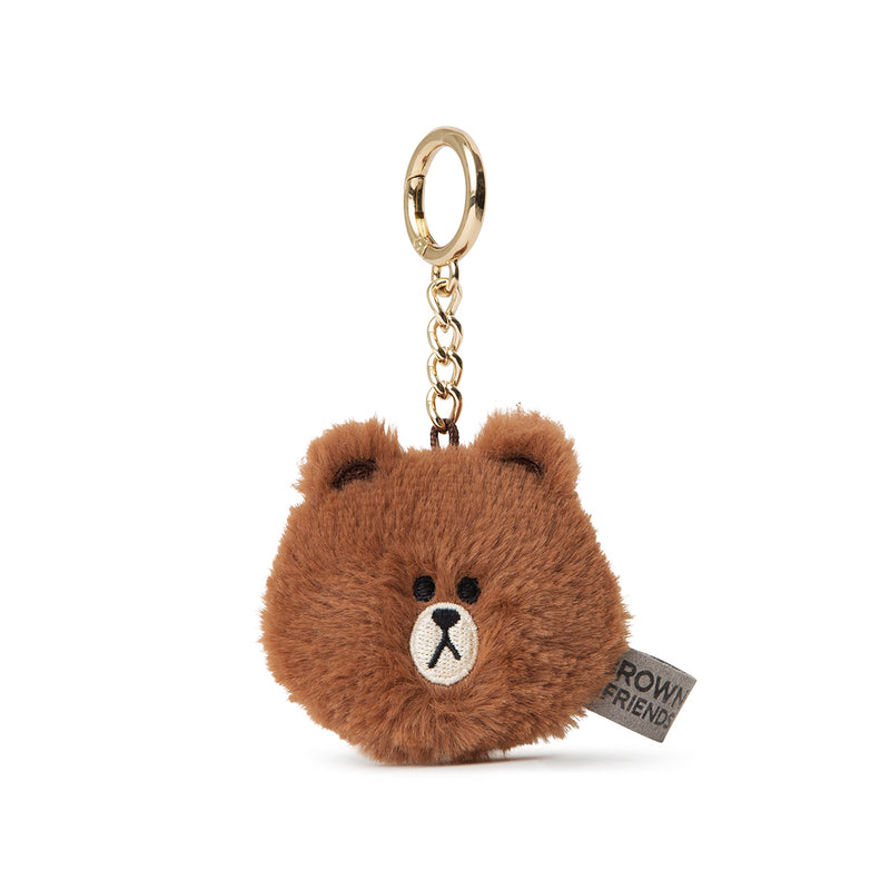 LINE FRIENDS BROWN Flat Fur Face Bag Charm 5cm