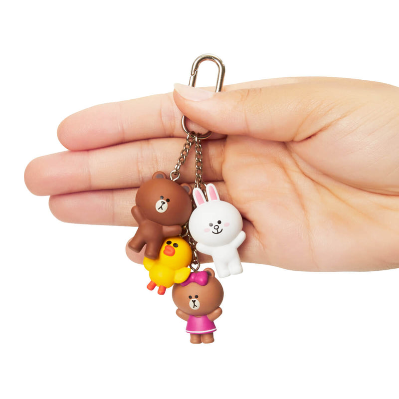 LINE FRIENDS BROWN & FRIENDS WAGGLE WAGGLE Figure Keyring (Style 1)