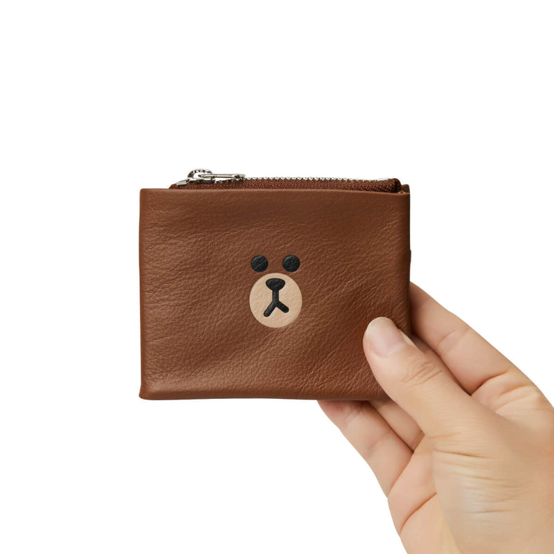 LINE FRIENDS BROWN Soft Genuine Leather Compact Bifold Wallet