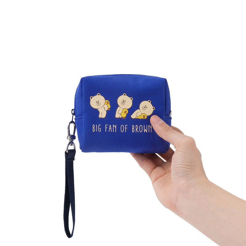 LINE FRIENDS BROWN & FRIENDS PIGGY Back Square Structured Pouch Blue