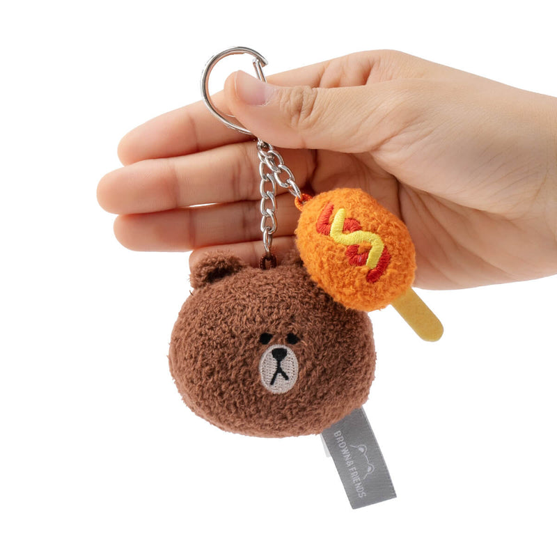 LINE FRIENDS BROWN Plush Face Keyring