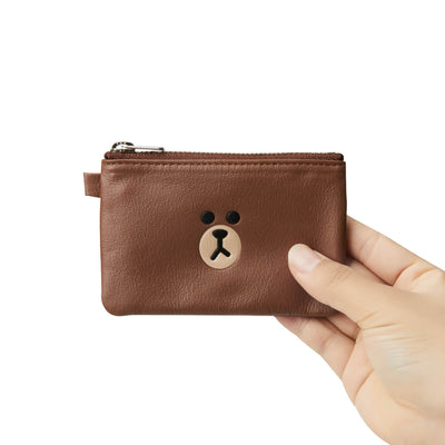LINE FRIENDS BROWN Soft Genuine Leather Mini Pouch