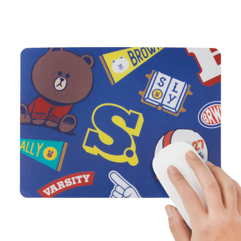 LINE FRIENDS BROWN & FRIENDS University Mouse Pad Blue