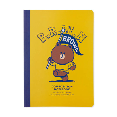LINE FRIENDS BROWN University B5 Ruled Note Book