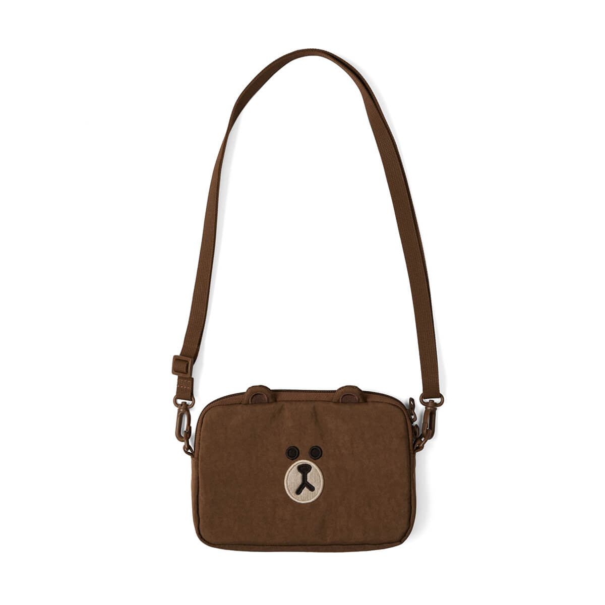 LINE FRIENDS BROWN Nylon Crossbody Pouch