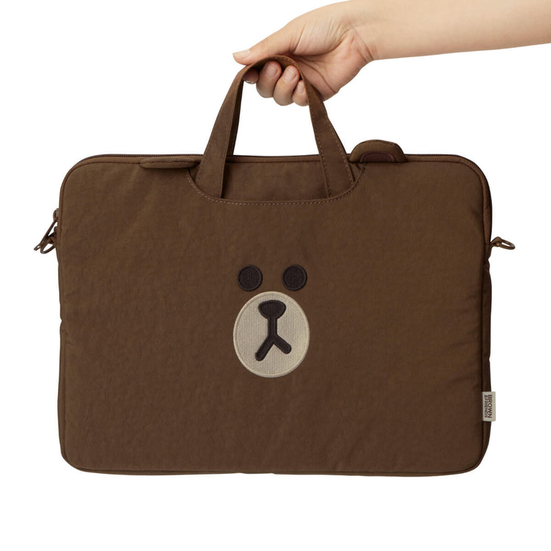 LINE FRIENDS BROWN Washed Nylon Laptop Bag w/ Handle 13""