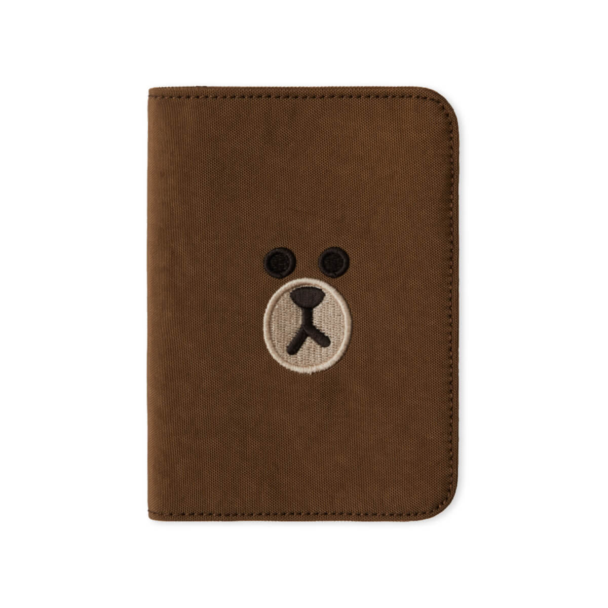 LINE FRIENDS BROWN Washed Nylon Passport Cover