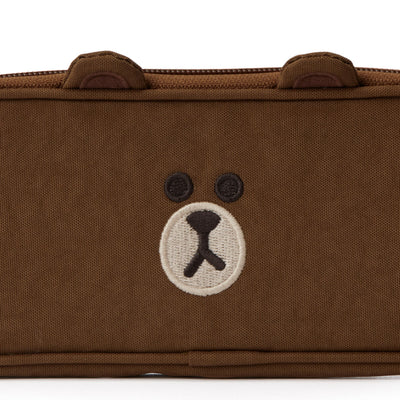 LINE FRIENDS BROWN Washed Nylon Pencil Case