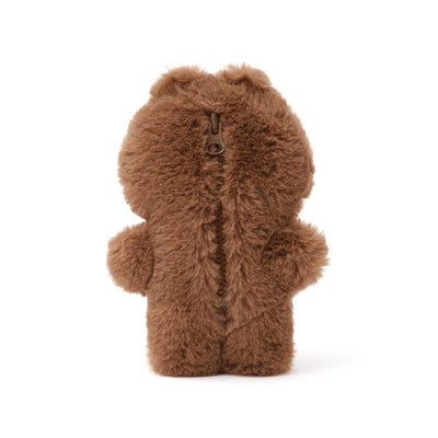 BROWN Flat Fur Mini Pouch