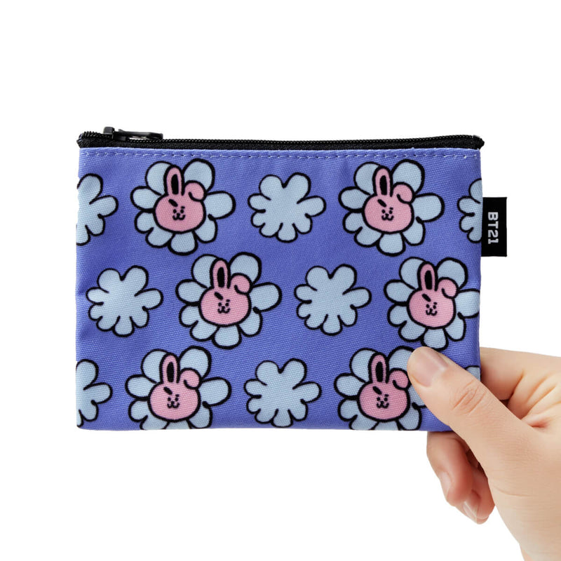 BT21 COOKY Flower Pattern Mini Pouch Blue Violet