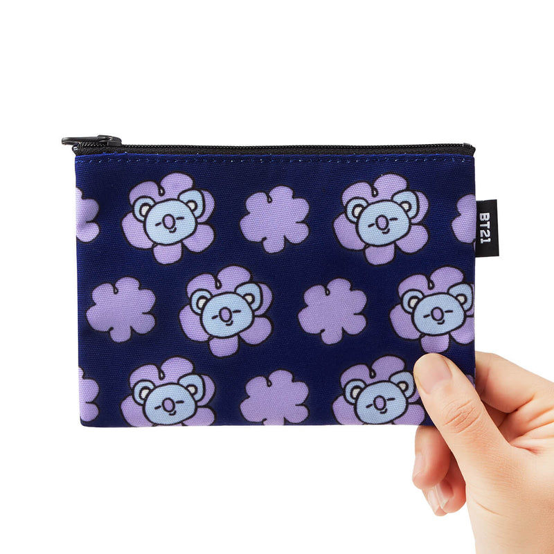 BT21 KOYA Flower Pattern Mini Pouch Dark Blue
