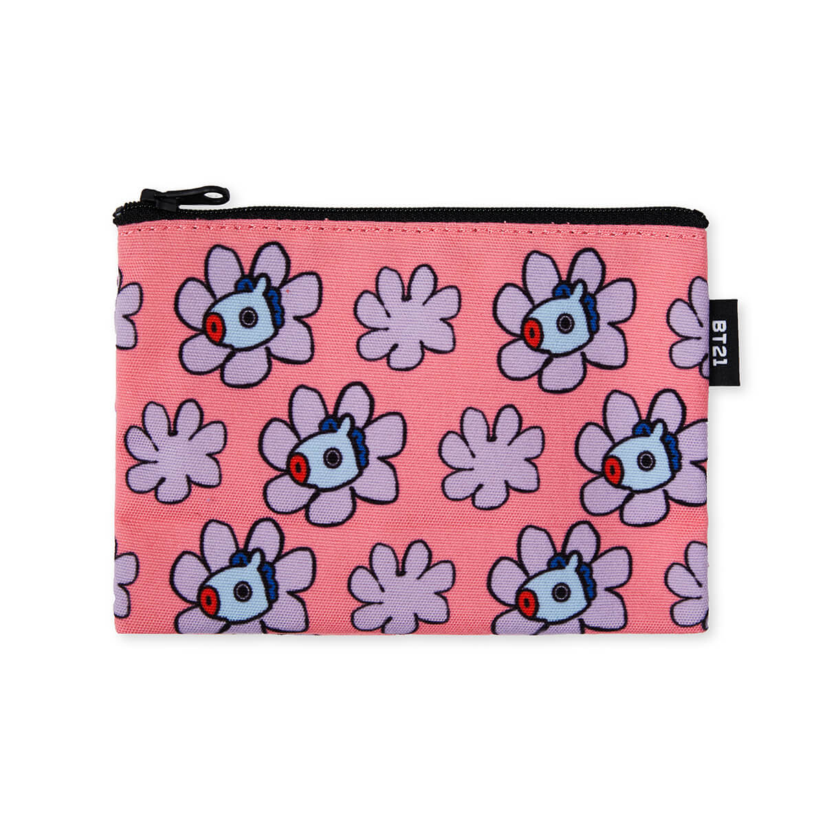 BT21 MANG Flower Pattern Mini Pouch Coral