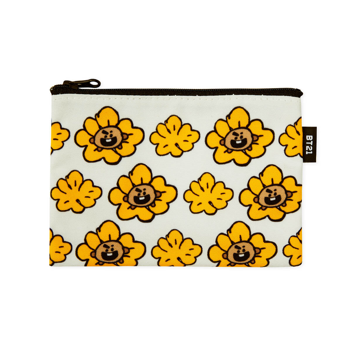 BT21 SHOOKY Flower Pattern Mini Pouch White