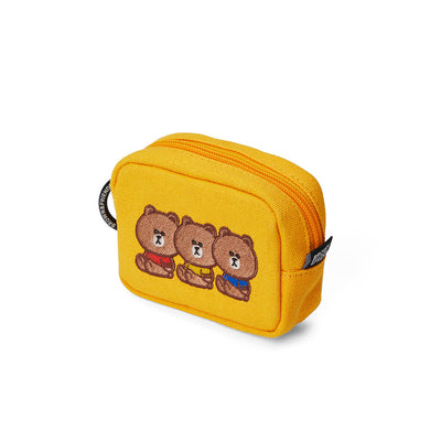 LINE FRIENDS BROWN 20 University Multi Pouch Yellow (S)