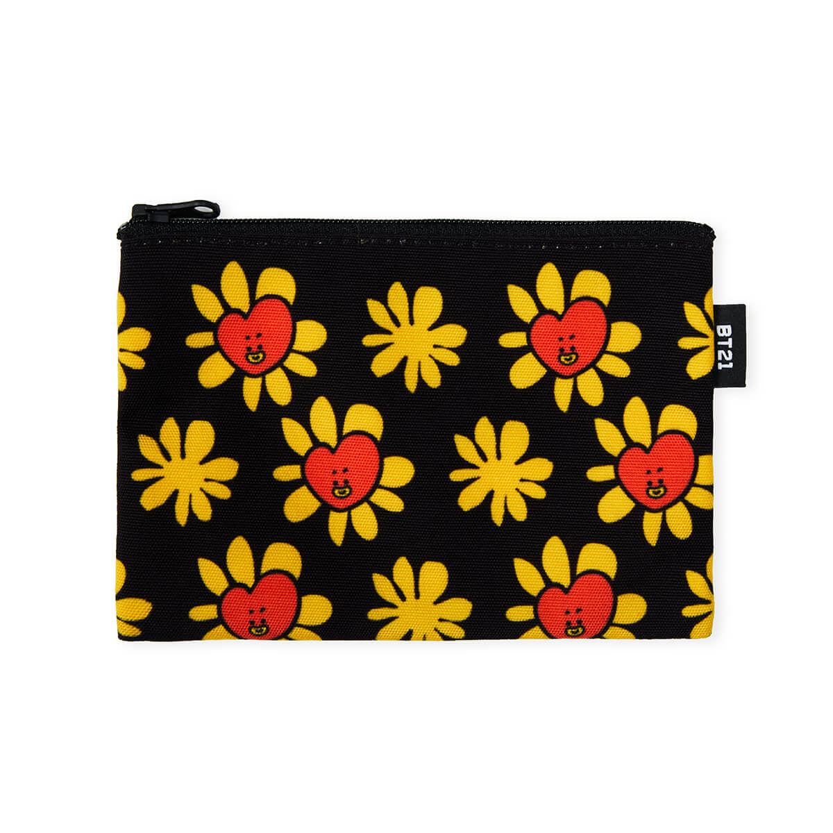 BT21 TATA Flower Pattern Mini Pouch Black