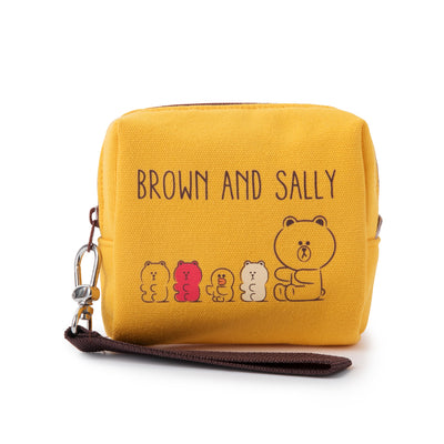 LINE FRIENDS BROWN & FRIENDS Gummy Friends Square Structure Pouch Yellow