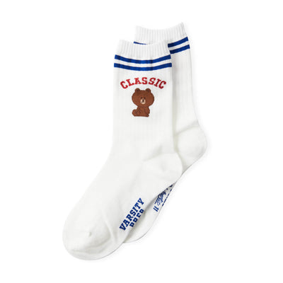 LINE FRIENDS Brown University Double Stripe Adult Socks Ivory