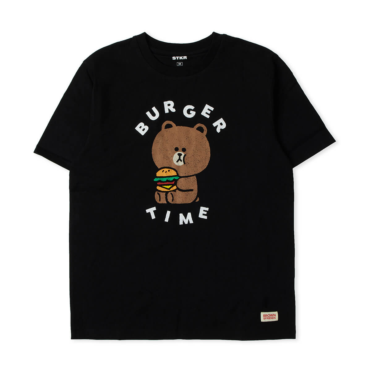 LINE FRIENDS BROWN Burger Time T-shirt Black