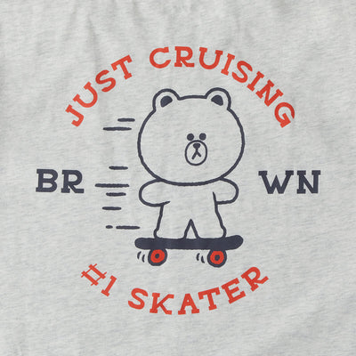 LINE FRIENDS BROWN Skater Short Sleeve T- Shirt Grey
