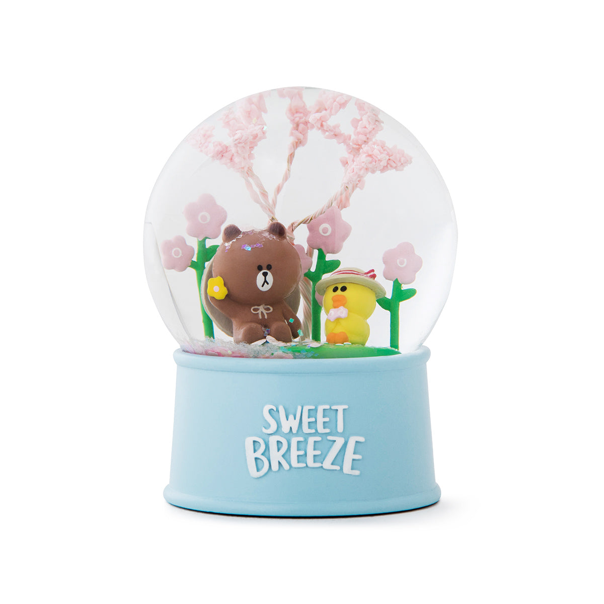 LINE FRIENDS BROWN & SALLY Spring Snow Water Globe